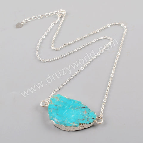 Wholesale 18K  Natural Turquoise Slice Adjustable Necklace Silver Plate S1624-N