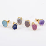 Gold Plated Freeform Rainbow Druzy Studs G1448