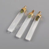 Rectangle Gold Plated Selenite Stone With Natural Amethyst Pendant G1805