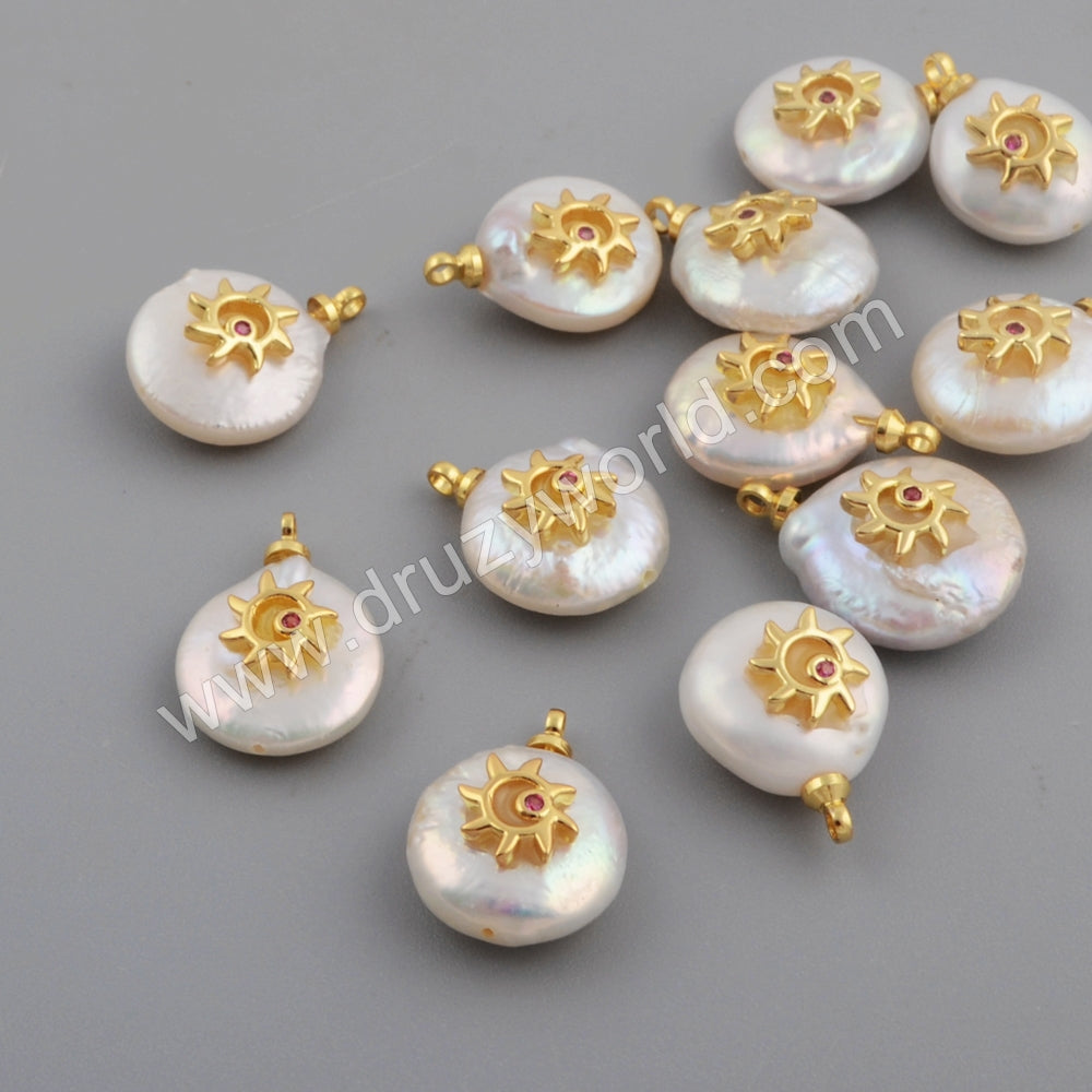 Gold Plated CZ Micro Pave White Sun Shape Shell Pendant WX1109