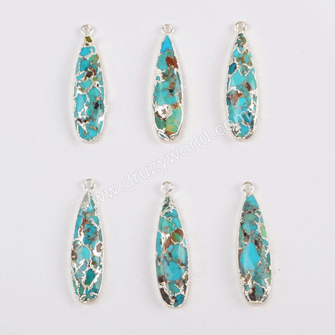 Natural Copper Turquoise Pendant Charm Jewelry Making Silver Plated S1547