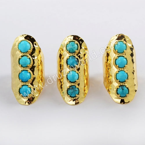 Gold Plated Round Four Natural Turquoise Band Ring ZG0337