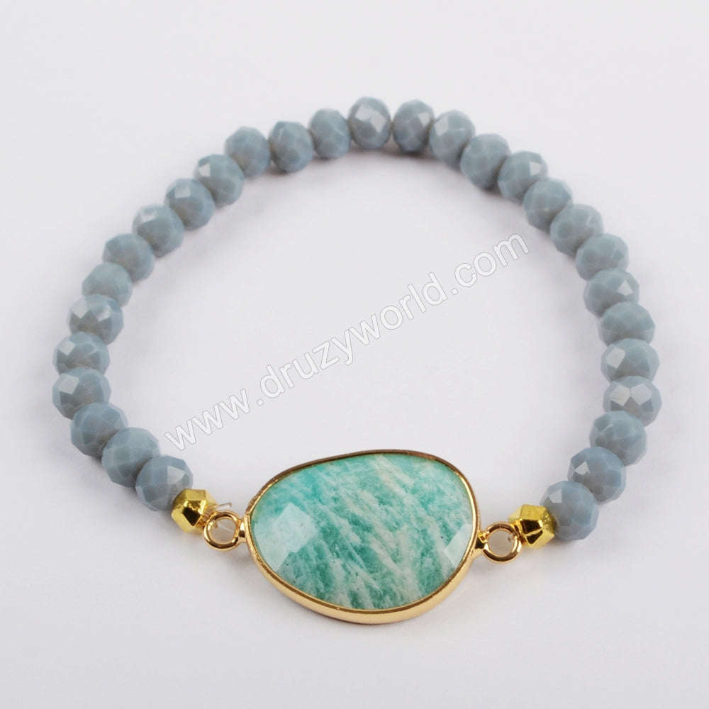 Gold Plated Egg Shape Amazonite Faceted Bracelet G1457