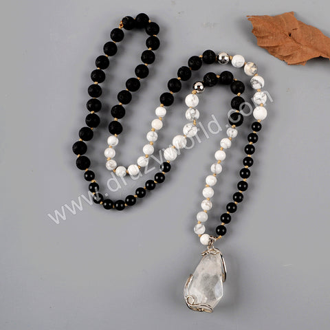 Silver Natural White Quartz Gemstone Bead Long Necklace HD0230