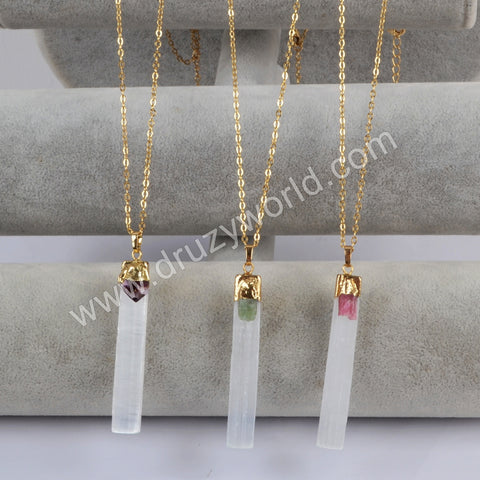 "18"" Rectangle Gold Plated Selenite Stone With Multi-kind Stone Necklace G1805-N"