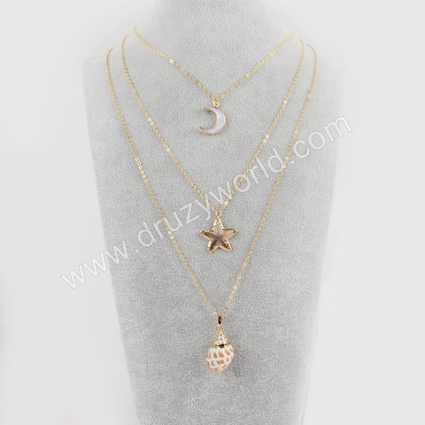 Gold Plated White Shell Moon Rainbow Shell Starfish Conch Shell Necklace G1680