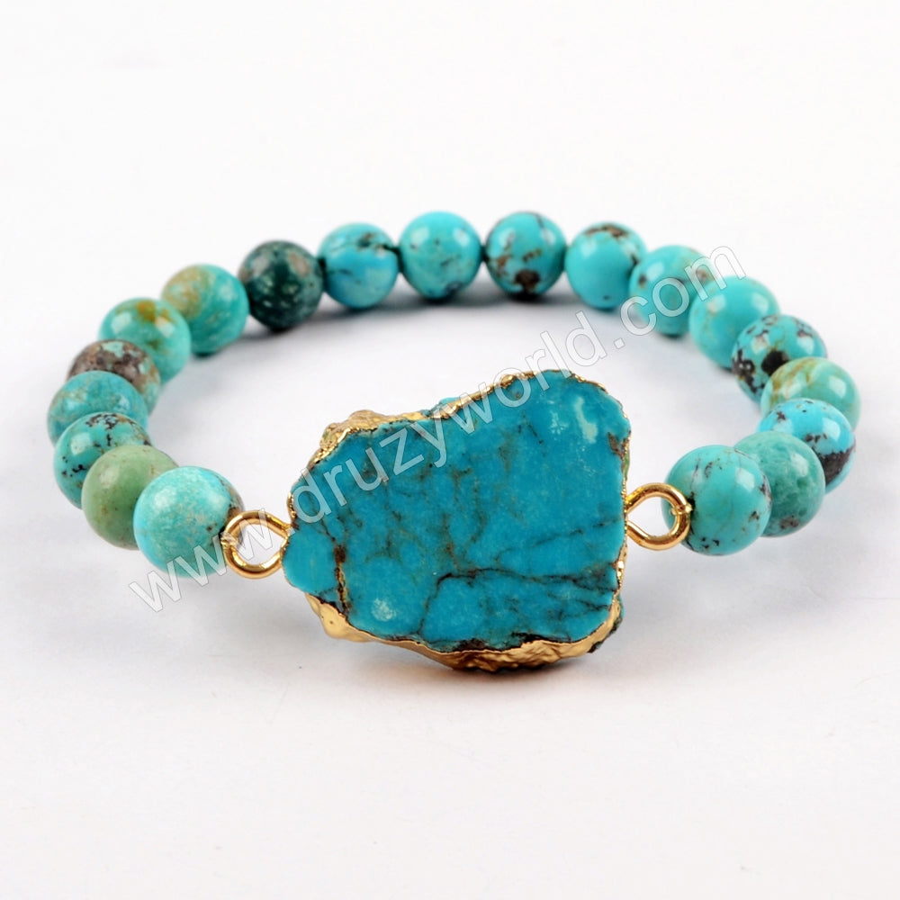 18K Gold Plated 100%  Natural Turquoise Slice With 8mm Beads Adjustable Bracelet G1625