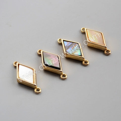 Diamond Shape Shell Bezel Gold Connector WX1005