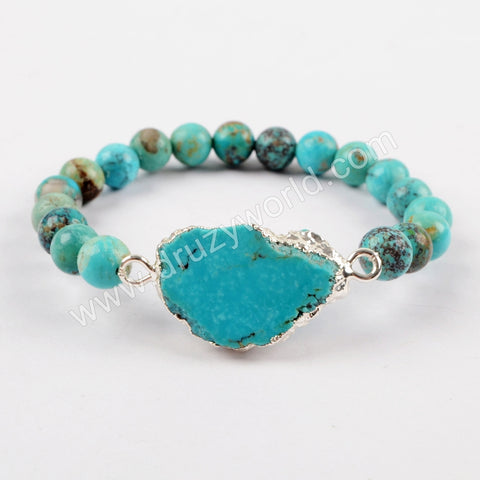 18K Natural Turquoise Slice With 8mm Beads Adjustable Bracelet Silver Plated S1625