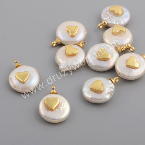 Gold Plated Heart Shape White Shell Pendant WX1110