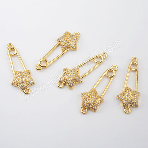 CZ Micro Pave Connector Gold Plated WX1460