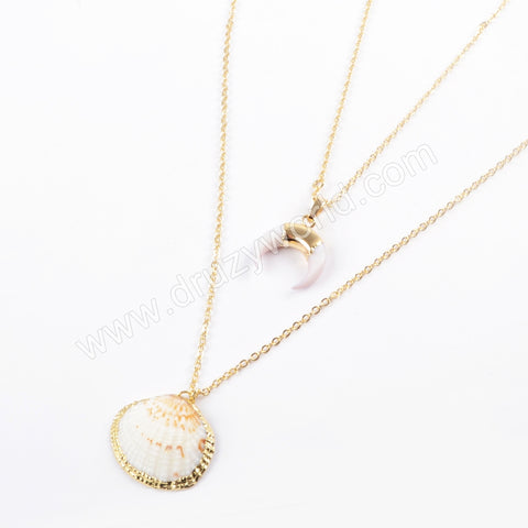 Gold Plated White Shell Horn Scallop Shell Necklace G1681