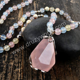 Silver Natural Rose Quartz Gemstone Bead Long Necklace HD0231