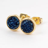 Round Gold Plated Bezel Rainbow Titanium Druzy Studs Earrings ZG0277