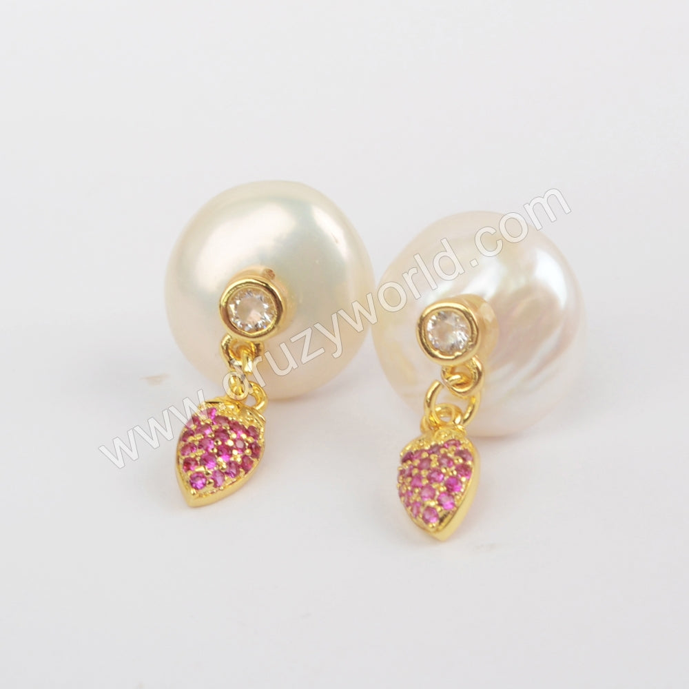 Natural Pearl With Multi CZ Studs WX1228