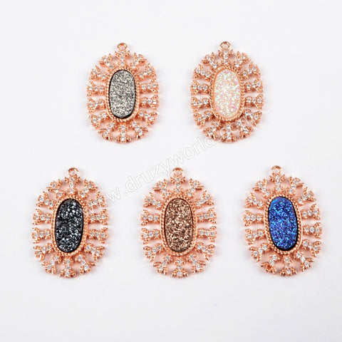 CZ Micro Pave Crystal Man-made Druzy Rose Gold Pendant WX884