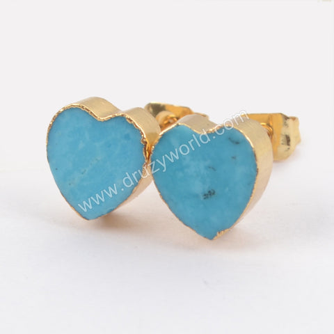 Gold Plated Natural Turquoise Heart Studs G1436