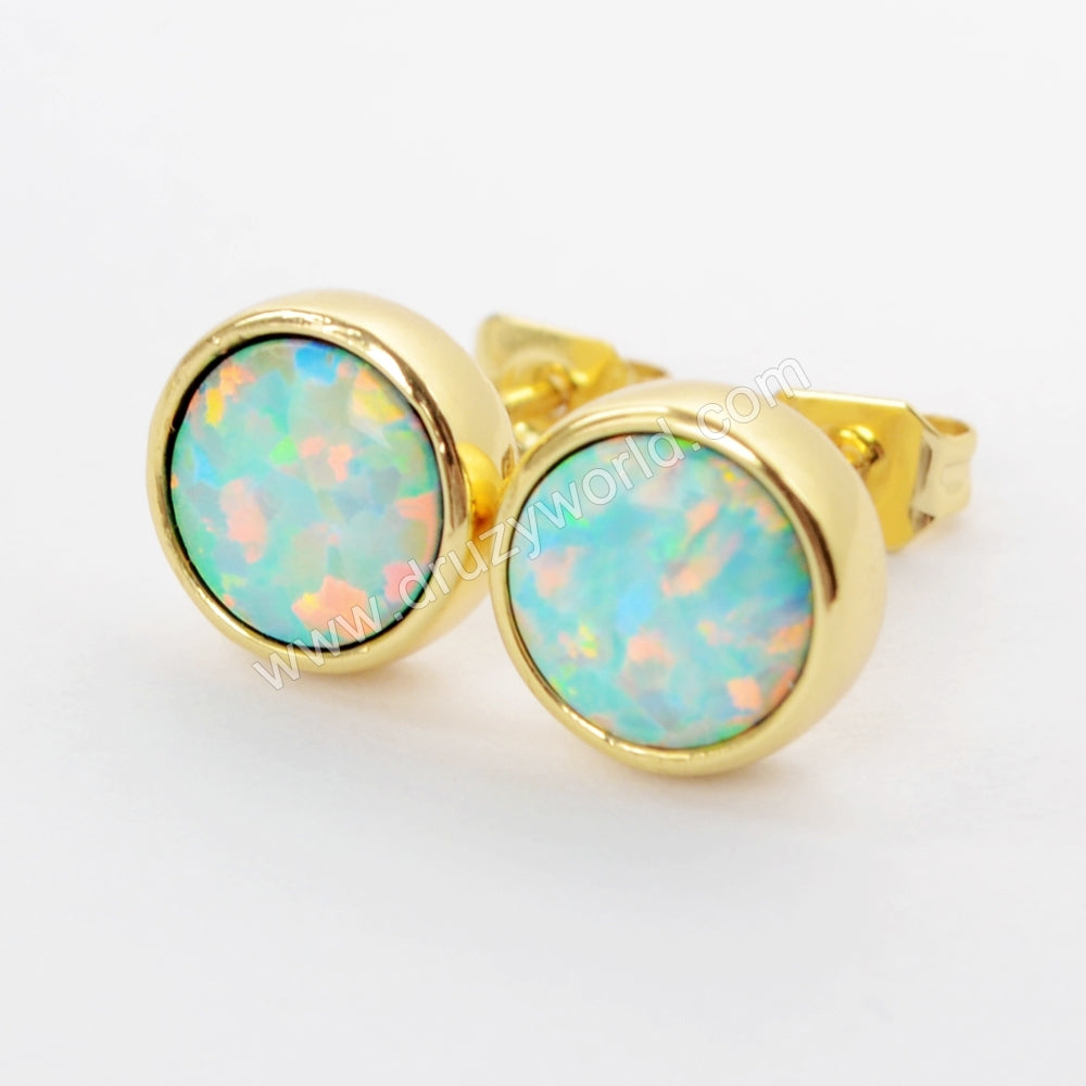 Round Gold Plated Bezel White Opal Stud Earrings ZG0257