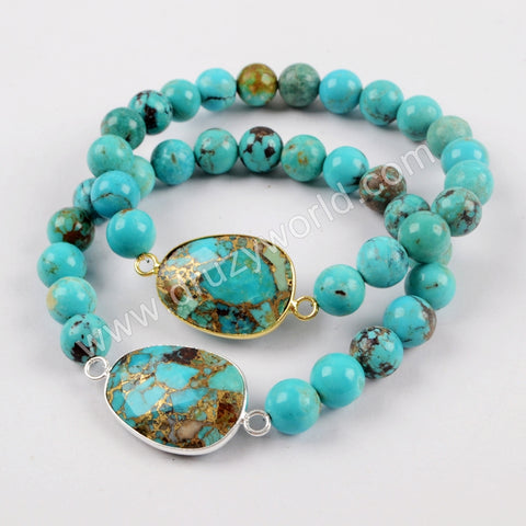 Turquoise Stones With Turquoise Beads Adjustable Bracelet Silver Plated S1626