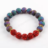 10mm Round Rainbow Titanium Druzy With Disco Ball Beads Bracelet G1575