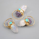 Gold Plated Aura Titanium AB Druzy Quartz Point With Natural Amethyst Chips & Round Turquoise Charm G1806