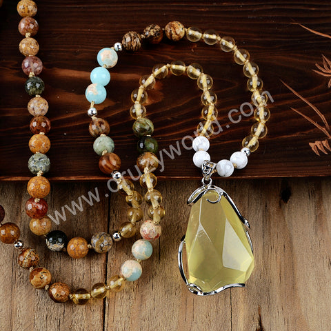 Silver Natural Citrine Quartz Gemstone Bead Long Necklace HD0232