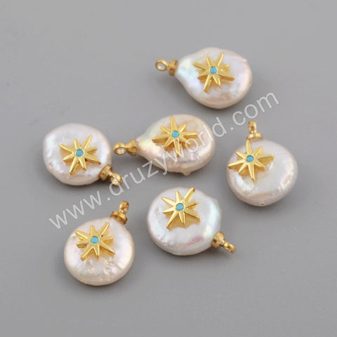 Gold Plated CZ Micro Pave Star White Shell Pendant WX1111