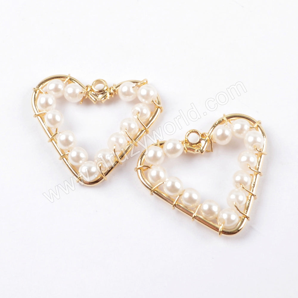 5pieces/lot,Heart Gold Plated Pearl Hollowing Brass DIY Charm Making Jewelry Supply PJ222