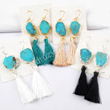 Gold Plated 100% Natural Turquoise Slice Tassel Earrings G1627