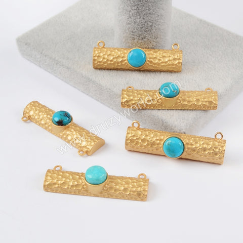 Rectangle Gold Plated Round Blue Howlite Turquoise Connector Double Bails ZG0201