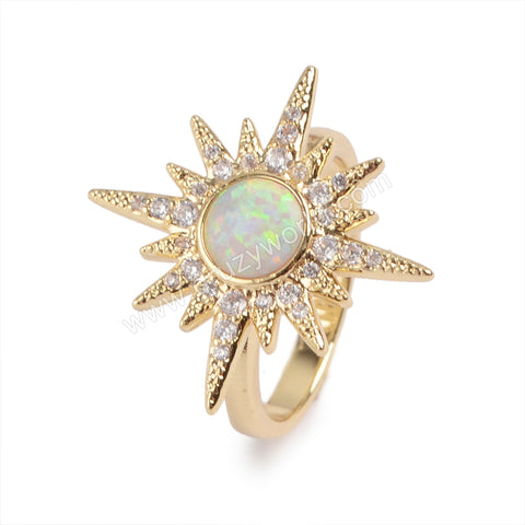 Gold Plated Bezel Star White Opal Pave CZ Ring ZG0218