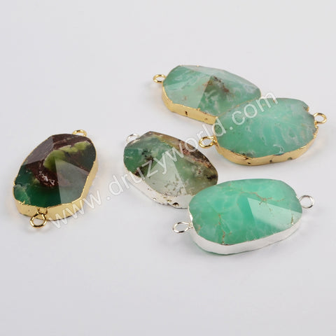 Gold Plated Natural Australia Jade Faceted Connector G1865