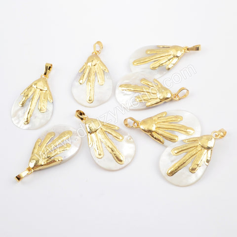 Gold Plated Drop Natural Shell Pendant G1917