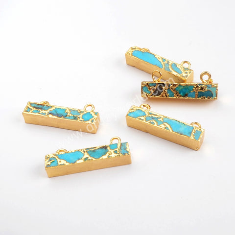 Gold Plated Rectangle Copper Turquoise Connector G1532