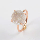 Size 6&7,12mm Round Rose Gold Claw Titanium Natural Druzy Ring ZG0131