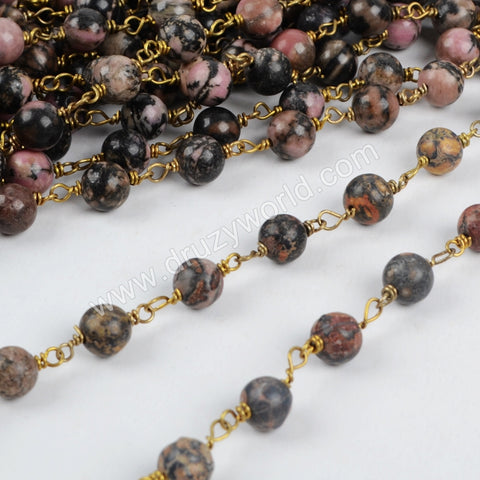5m/lot,Gold Plated 8mm Round Leopard Skin Jasper Beads Wire Wrapped Rosary Chain JT125