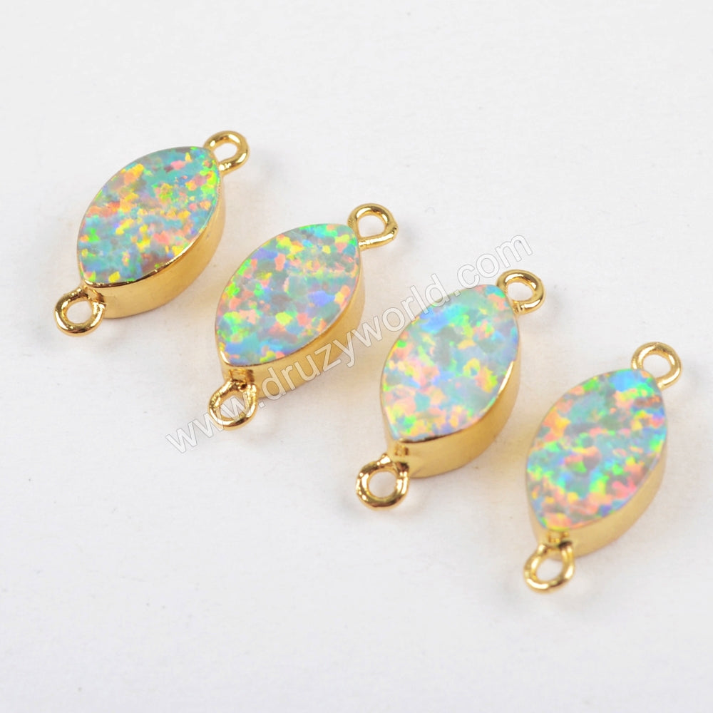 Marquise Gold Plated White Opal Connector G1462