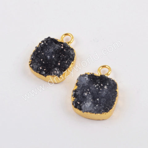 12mm Black Square Druzy Charm CL265