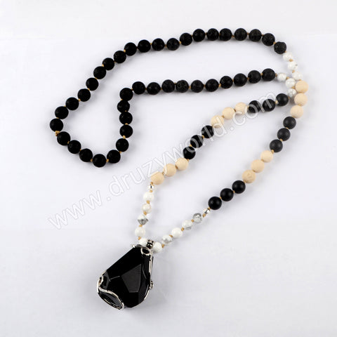 Silver Natural Black Agate Quartz Gemstone Bead Long Necklace HD0233