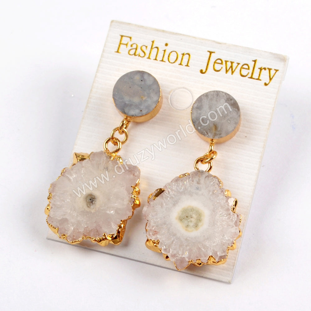 Gold Plated 10mm Round Multi Natural Stones With Rainbow Solar Quartz Earrings G1576