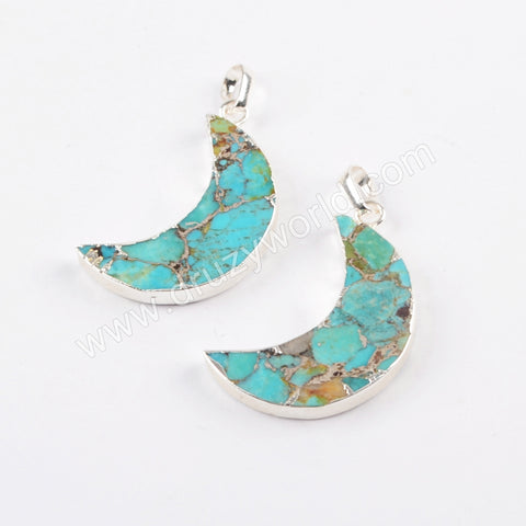 Copper Turquoise Moon Pendant Charm Jewelry Making In Silver Plated S1682