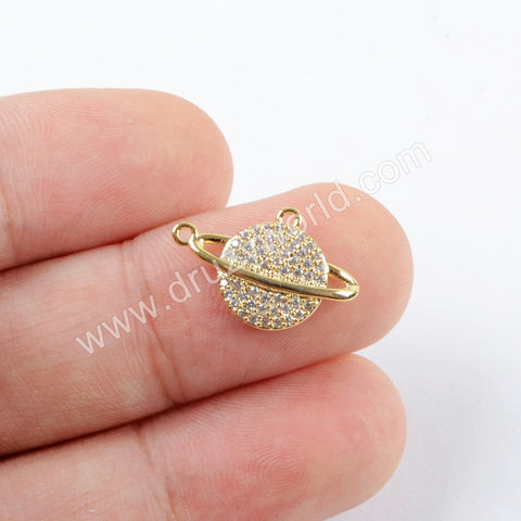 5pieces/lot,Satellite Moon Earth Gold Plated Zircon Brass DIY Connector Making Jewelry Supply PJ223