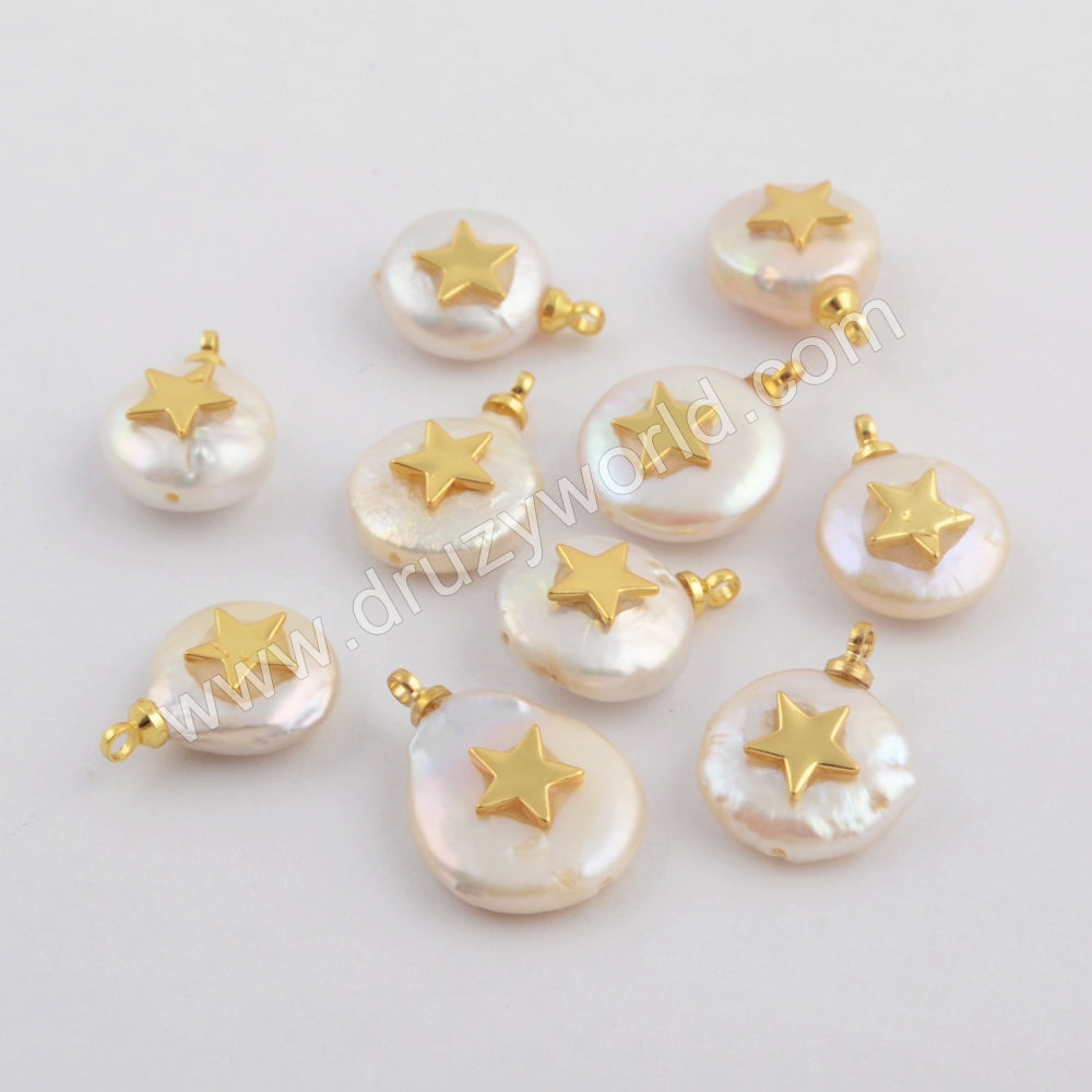 Gold Plated Star White Shell Pendant WX1112