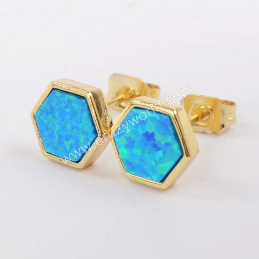 Gold Plated Bezel Hexagon Blue Opal Studs ZG0224