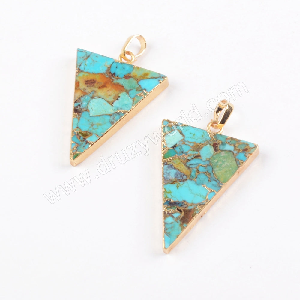 Copper Turquoise Pendant Charm Women Jewelry In Silver Plated S1683