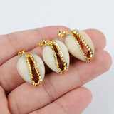 Gold Plated Natural Shell Pendant Bead G1295