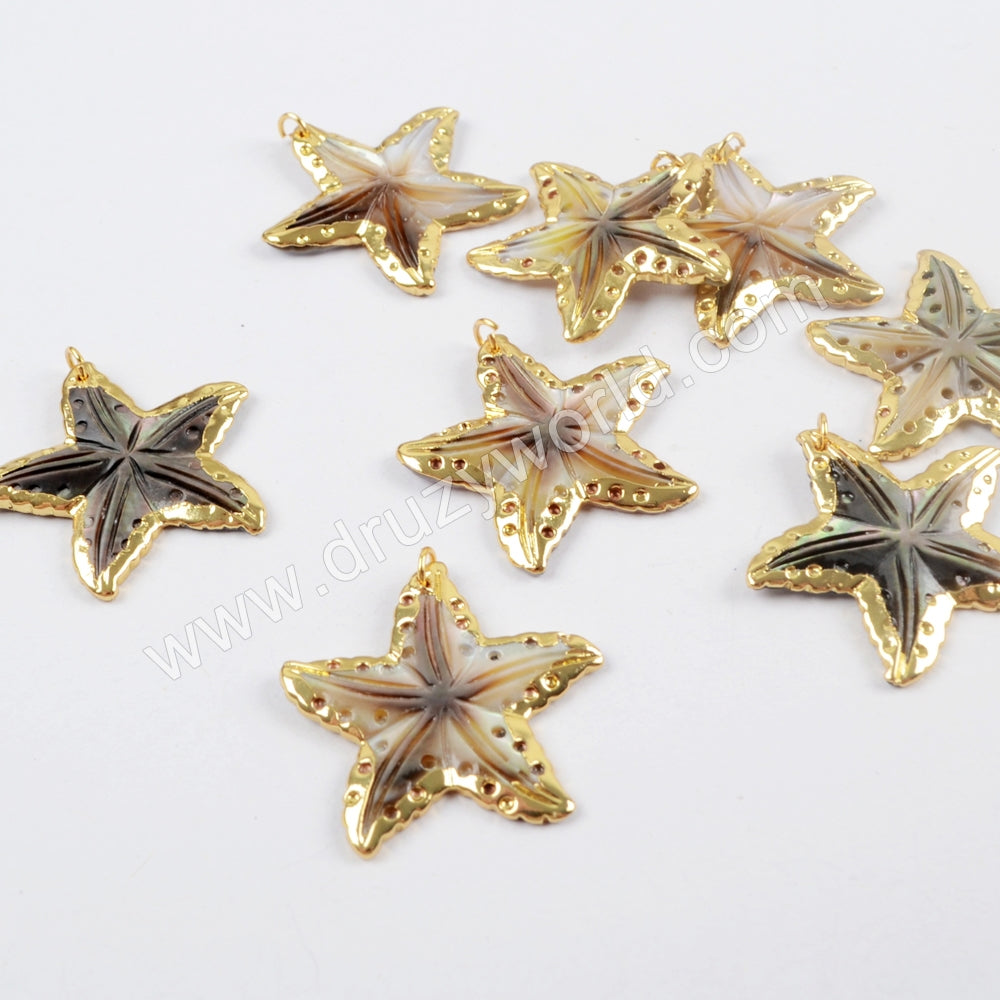 18K Gold Plated Rainbow Shell Starfish Charm For Jewelry Making G1628