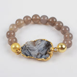 Gold Plated Galaxy Quartz Titanium Chalcedony With 10mm Grey Agate Beads Bracelet Bangle G1325