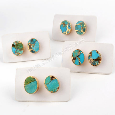 Oval Gold Plated Copper Turquoise Stud Earrings G1546