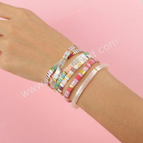 Wholesale Fashion Aautumn Jewelry Tila Rainbow Beaded Bracelet Gift For Her HD0115